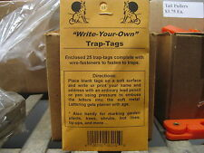 Trap Tags Write your own 4 Packs New Traps Hunting Fur Animal Traps Fur