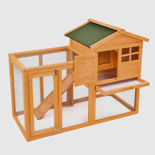 "56"" Wooden Rabbit House Hutch Chicken Coop Bunny Small Animal Cage with Tray Run"