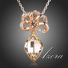 NEU AZORA Anhänger mit Zitrin + Stellux Crystals + Halskette Gold Plated, 004