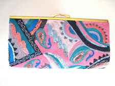 NEW FRANCHI MULTICOLOR  CLUTCH  WITH GOLD CHAIN SHOULDER STRAP