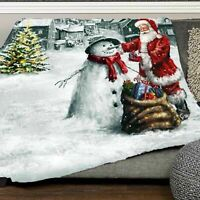 Red Snowman Print Blanket Christmas Soft Flannel Throw Sofa Couch Bed Decoration