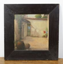 """Signed VALENCIA CHAVES Oil Painting """"Patio in Caracas"""" Venezuela 1942 BEAUTIFUL"""