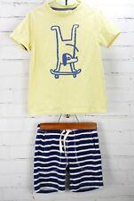 Mini Boden Johnnie b T-Shirt & Toweling Shorts Outfit Dog Skateboard Boys 6-7Y