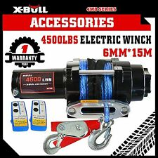 X-BULL 12V 4500LBS/2041kg Electric Winch Synthetic Rope 2 Remote Wireless ATV