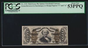 US 50c Spinner Fractional Currency w/ '1' & 'a' FR 1332 PCGS 53 PPQ Ch CU (020)