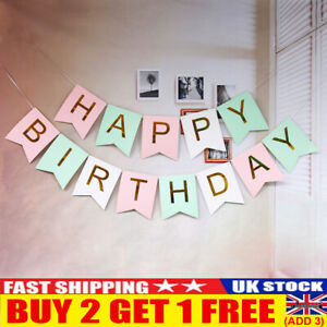 Happy Birthday Bunting Banner Party Decoration Garland Pastel Hanging Letters UK