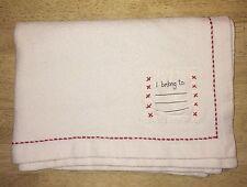 "Baby Gap Vintage 99 Blanket White Cotton Red Stitching BabyGap ""I Belong To"""