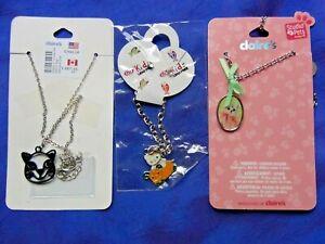 Bundel of 3 Cat Necklace/Bracelet 2 Claire's Necklaces + Kid Bracelet Earrings
