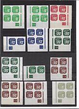 Böhmen & Mähren 1943, Viererblöcke aus Michelnummern: 117 - 125 **,postfrisch **