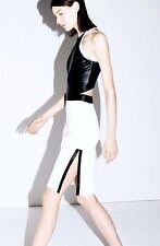 NWT Helmut Lang Womens Size 2 Black/White Cutout Mini Dress in Leather & Poplin
