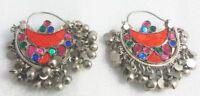 Kuchi Earrings Crescent Tribal Jewelry Bohemian Ethnic Hippie Boho Gypsy ( J )