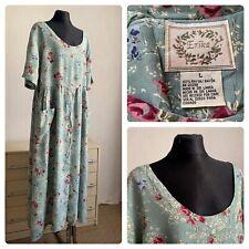 VINTAGE ERIKA dress  90s short sleeve size L rayon floral