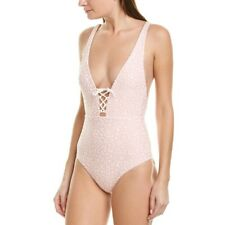 NWT Onia Iona Peach Leopard Tie Front One Piece Swimsuit S
