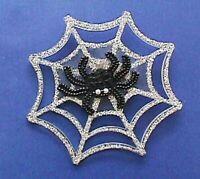 Hallmark PIN Halloween Vintage SPIDER on WEB Glitter Large Holiday Brooch