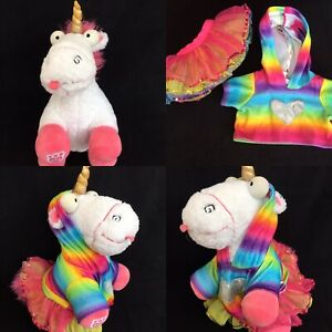Build a Bear Minions Despicable Me Unicorn Toy & Rainbow Outfit Tutu Hoodie Top