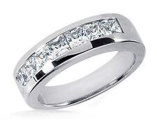 2 carat, 7 Princess cut Diamond 14k Gold Band Mens Wedding Channel Ring G Vs
