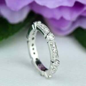 0.50 CT Round Diamond Full Eternity Art Deco Engagement Ring 14K White Gold Over