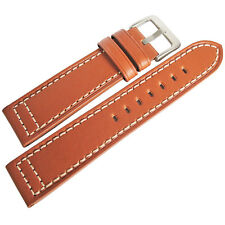 22mm Hadley-Roma MS851 Mens Tan Saddle Leather Pilot Watch Band Strap