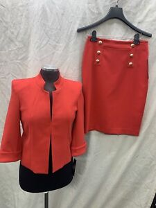 TAHARI BY ARTHUR LEVINE SKIRT SUIT/SIZE8p/PETIE/RETAIL$320/NEW WITH TAG/RED