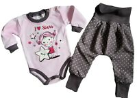 Baby Girls PURPLE Outfit  Set Bodysuit & Trousers 100% Cotton 3-6/6-9 Months