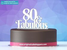 """""""80 & fabulous"""" White - 80th Birthday Cake Topper - Made by OriginalCakeToppers"""