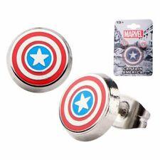 Official Marvel Captain America Logo Round Enamel Stud Earrings