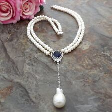2 StrandsWhite freshwater Pearl Necklace 24k gold plated CZ Pendant