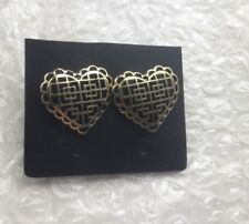 Gold/Black Heart Stud Earrings Dorothy Perkins New