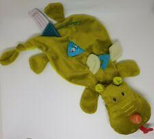 18 - Doudou plat Walter le dragon vert LILLIPUTIENS attache tétine  NEUF