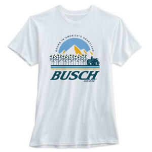 RARE - Busch Beer 'For the Farmers' Tractor T Shirt  Light CORN COB Can Cooler L