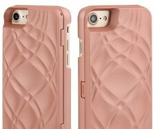 For iPhone 7 / 8 - ROSE GOLD Hidden Mirror Wallet Case w/ Stand + Card Holders