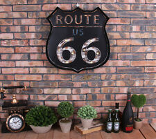 Vintage LED Light  Metal Sign Bar US ROUTE 66 Hand-painted Cafe Wall Decor