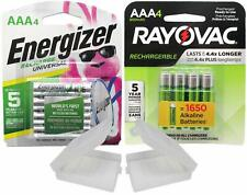 4 Rayovac and 4 Energizer AAA Rechargeable Batteries with Battery Holders