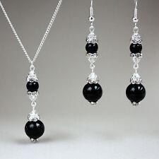 Black pearls crystal pendant necklace long earrings wedding silver jewellery set