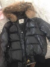 Girls Black Puffa Jacket With Fur Trimmed Hood Size Medium