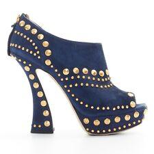 MIU MIU navy blue suede gold stud peep toe platform curved heel bootie EU37.5