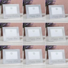 """Silver Glitter Mirror Picture Birthday Frames Boxed Gift  4""""x 6"""" 10cm x 15cm"""