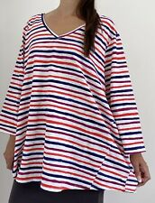 NEW W TAGS AUTOGRAPH White Multi Striped Long Sleeve Top Plus Size AU 24 RRP $50