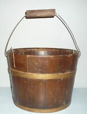 "Antique Rustic Primitive Redwood WATER BUCKET Pail 9"" x 12"" >Yard & Garden Decor"