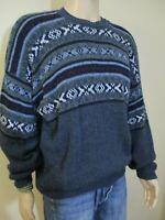 Vintage David Taylor Nordic Fair Isle Chunky Sweater sz XL Blues and Grays