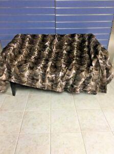 Luxury Sable Fur Throw 100% Real Russian Sable Bedspread Blanket Sobol