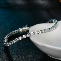 18K WHITE GOLD GF MADE WITH SWAROVSKI CRYSTAL TENNIS CHAIN BRACELET SLIM