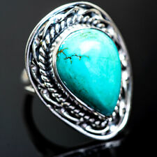 Large Tibetan Turquoise 925 Sterling Silver Ring Size 7.25 Jewelry R995446F