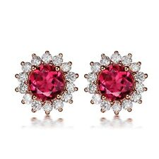 18k Rose Gold GP AAA CZ Zircon Lady Wedding Flower Studs Clip Earrings