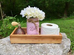 "Toilet Tank ""Butt Box"" Tray Vanity Tray Box Handmade Wooden Stain Color Choices"