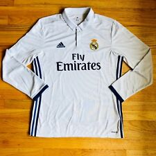 Real Madrid NWT ADIDAS White Home Classic Soccer Jersey Long Sleeve Men s  size L 2f86d61df