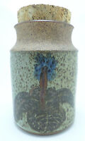 "Vintage Studio Pottery - 1 quart Jar Canister w/ Cork - 6.5"" tall - Signed LR"
