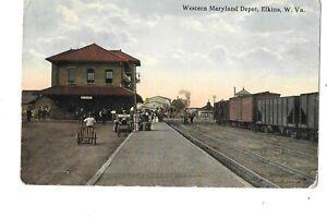 RAILROAD TRAIN STATION WESTERN MARYLAND DEPOT ELKINS WV I ROBBINS & SON 1915