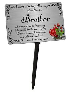 Brother Memorial Plaque & Stake. Brushed Silver Waterproof garden grave