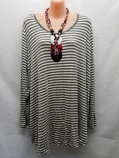 AUTOGRAPH SIZE 16 GREY STRIPED LONG SLEEVE SMART CASUL TOP